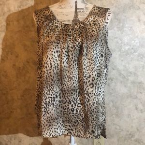 Elementz Petite Sleeveless leopard Top